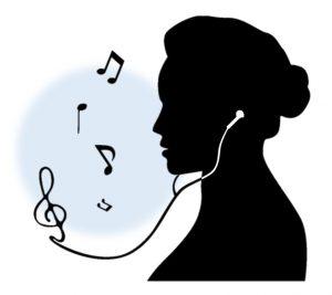 音楽を聴く女性の影絵
