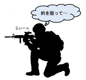 狙いを定める狙撃手の影絵