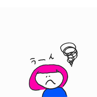 悩んでいるピンク色の髪の女の子のイラスト