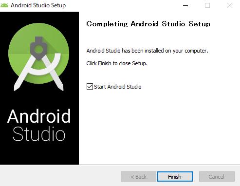 インストール手順 最後の画像でStart Android Studioへチェックが入っている画像